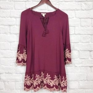 Forever21 Burgundy Lace Swing Dress Size S